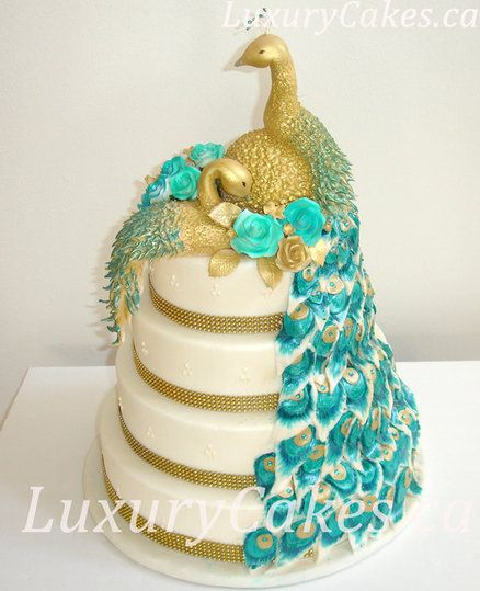 Peacock Feather Wedding Cake: Peacock Wedding Cake. Peacock Are My Favorite.