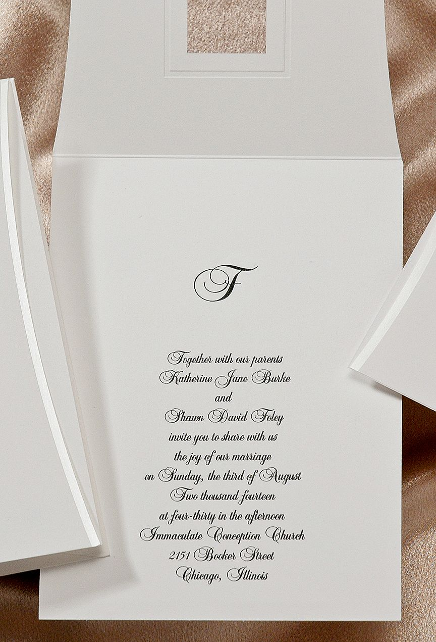 Your initial peeks through the window on the front of this bright white invitation. Pearl stamped edges are curved and add a touch of whimsy.