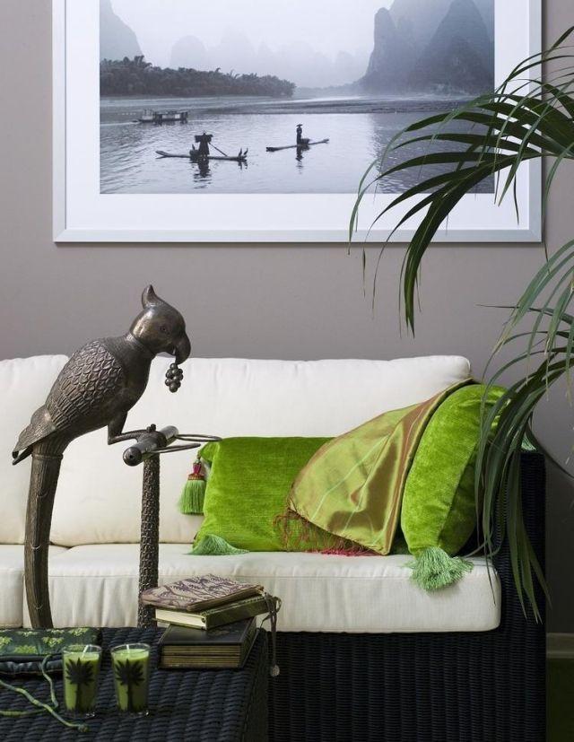 ideen-wohnzimmer-streichen-graue-wandfarve-exotische-atmosphaere ...