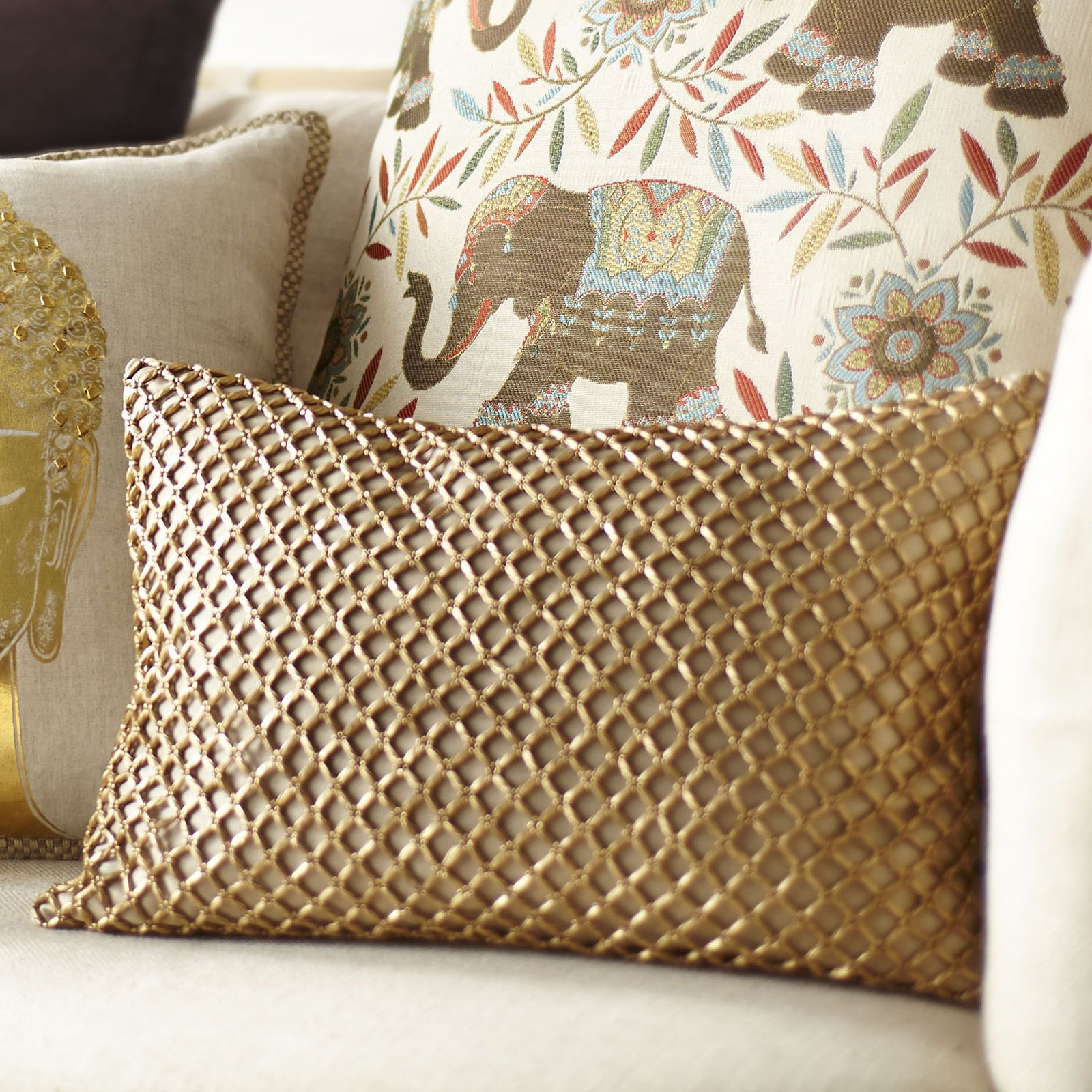 This glamorous design is the gold standard of pillows. Instantly increase the value of your home by adding this gorgeous metallic beaded number. You'll definitely appreciate the interest it generates.