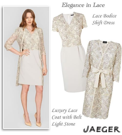 Jaeger Occasion Wear Lace Top Shift Dress and Matching Coat ...
