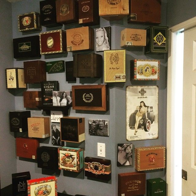 Cigar Box Wall 3 Hours 35 Cigar Boxes 5 Hand Made Photo Canvases And A Whole Lot Of Command Strips Best Fathe Cigar Box Crafts Cigar Box Art Cigar Boxes