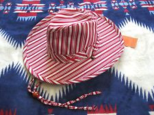 NWT STETSON WOMENS M COTTON STRIPED FEDORA TRILBY SUN HAT SUMMER STRING RED http://ift.tt/1iFcTMU