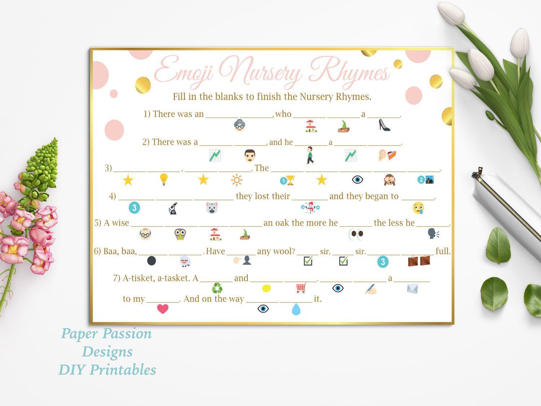 baby shower nursery rhyme game pdf