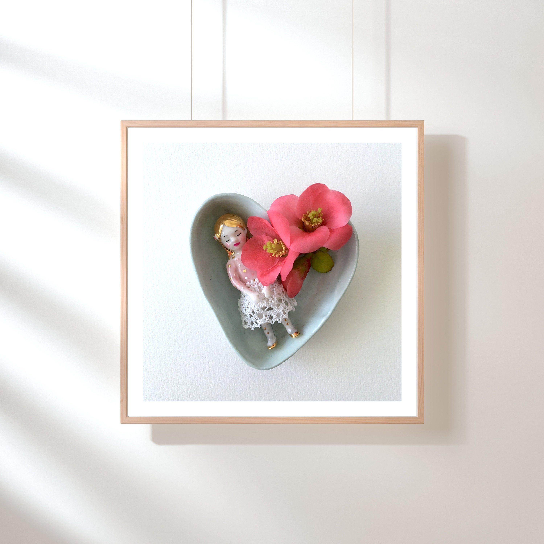 Blue heart and doll, #artprint #artphoto, still life poetic and #romanticphoto by Natacha Plano #wallartdecor #wallphoto #homedecor #porcelain