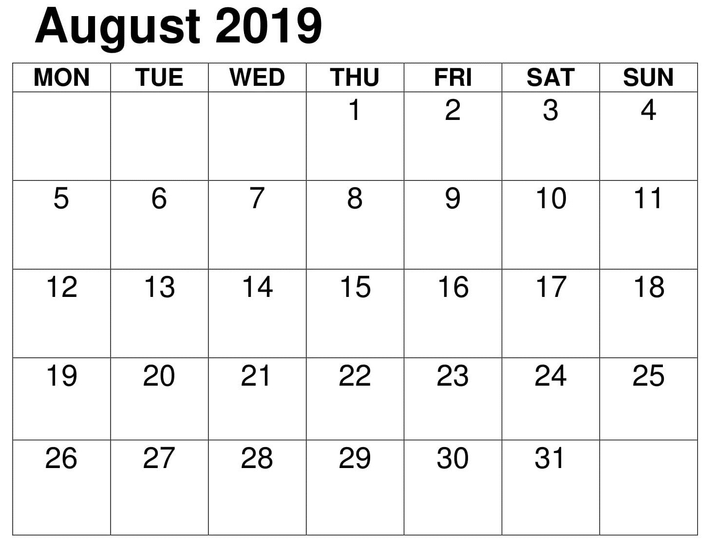 August School Calendar 2019 Printable With Images Calendar