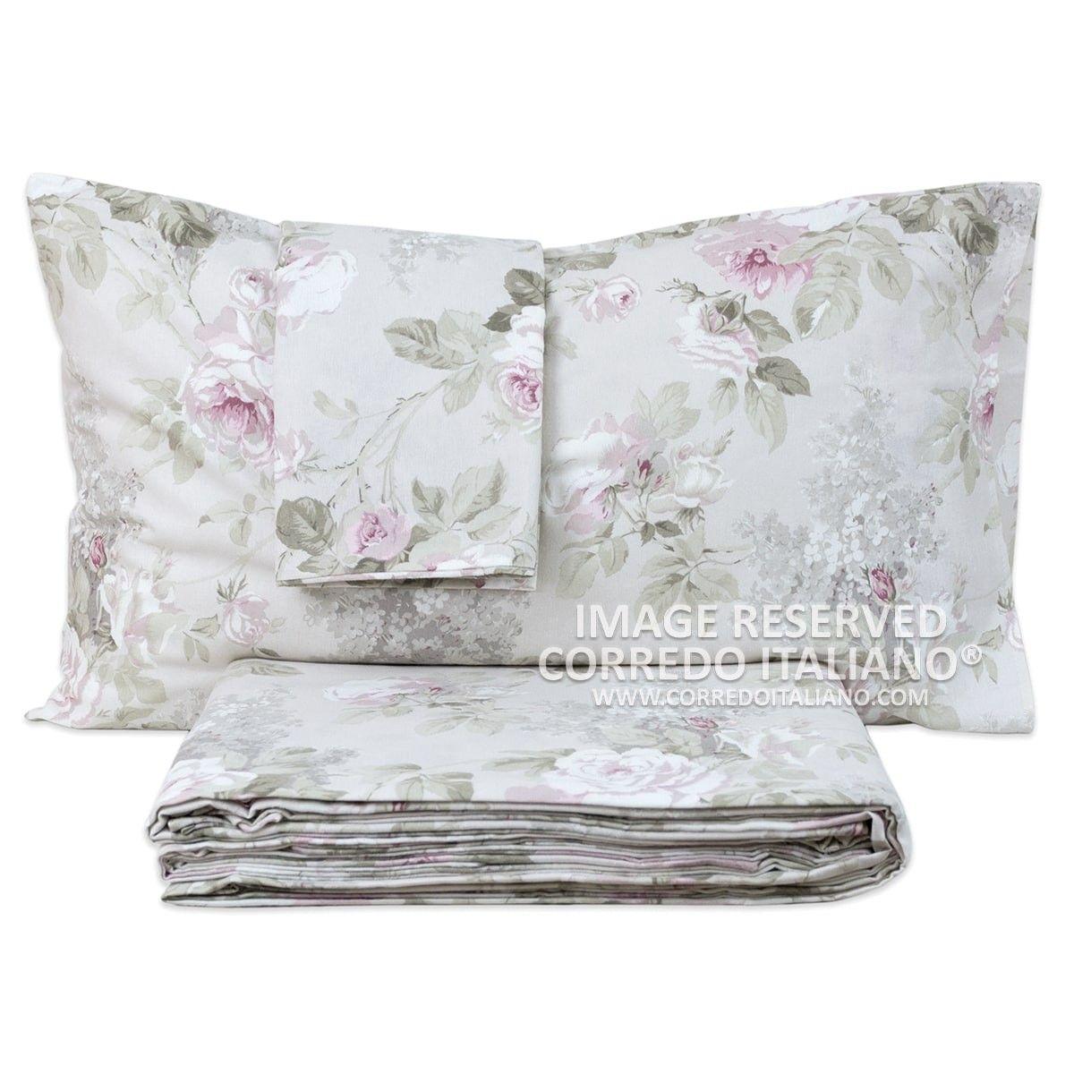 Set Lenzuola Flanella Matrimoniale Fantasia Rose Corredo Misure Maxi Bed Sheets Linen Bedding Bed