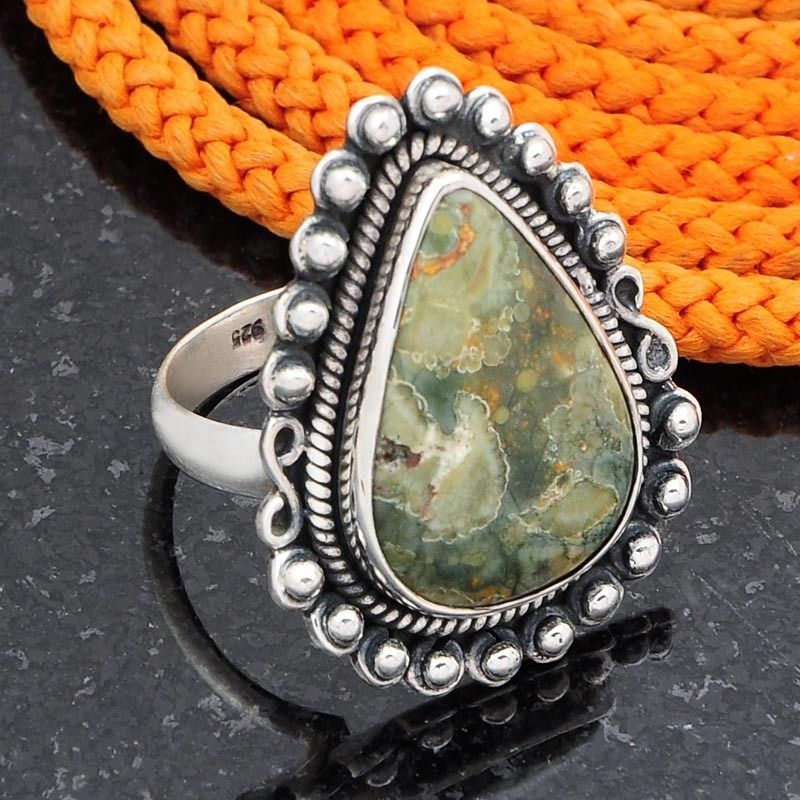 925 SOLID STERLING SILVER LADIS RAINFOREST JASPER FANCY RING 7.79g DJR4529 #Handmade #Ring