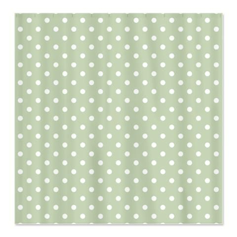 Green with White Polka Dots Shower Curtain   Shower Curtains ...