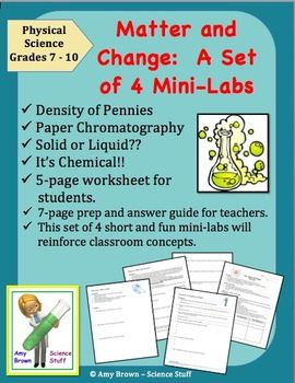 Matter and Change 4 Mini Labs (Elements, compounds, mixtures ...