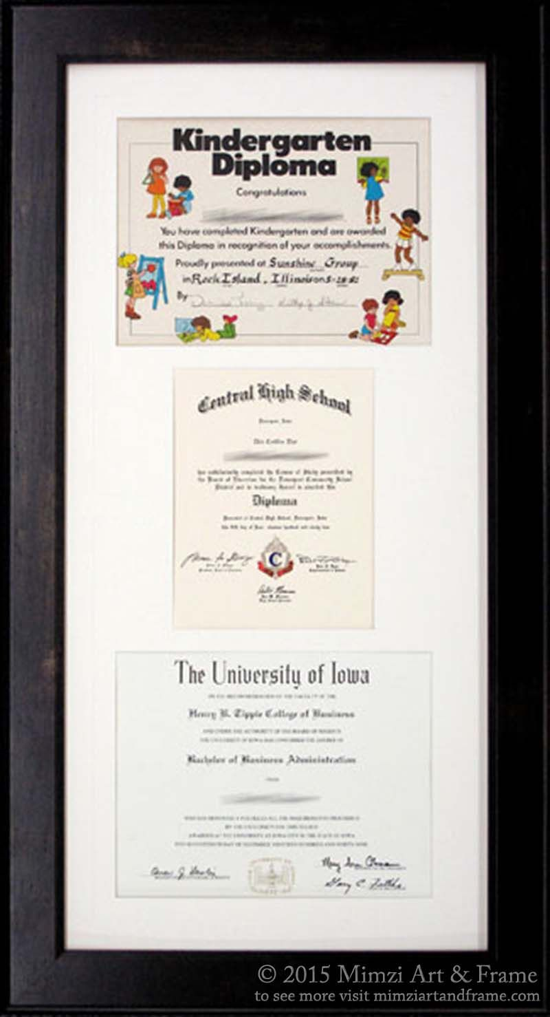 Well, really, why not? This frame contains three diplomas ...