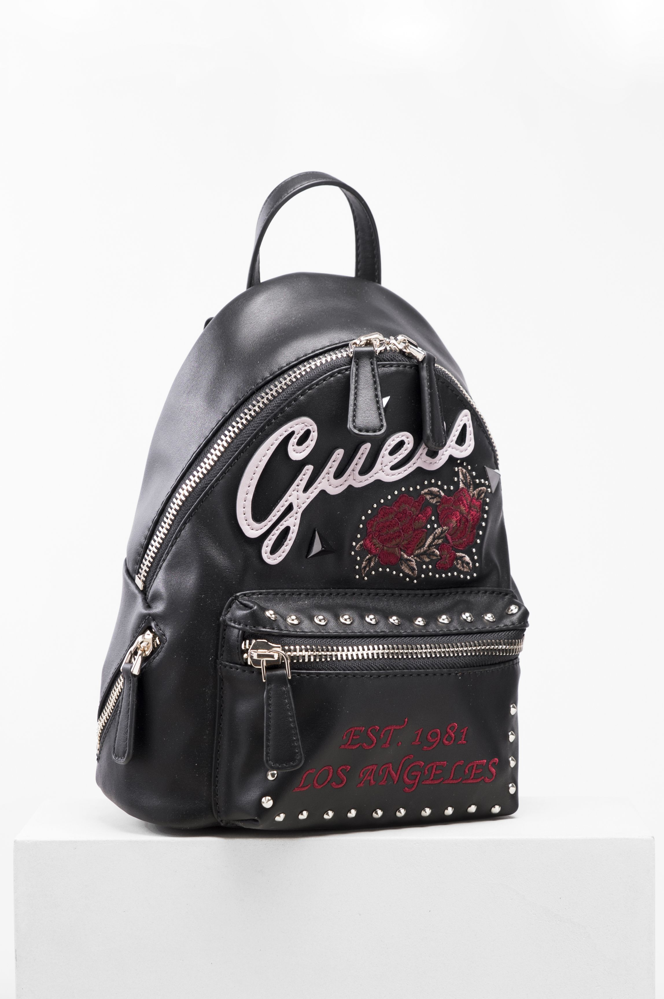 5124b48e27 guess  backpack  black  red  bag  leather