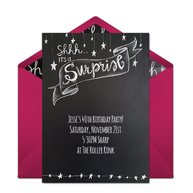 Free surprise chalkboard invitations chalkboards chalkboard free surprise chalkboard invitations surprise party invitations50th birthday filmwisefo Choice Image