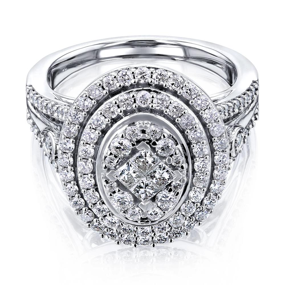 Kobelli 1 Carat Oval Diamond Cluster Ring 10k White Gold In 2020 Bold Engagement Rings Split Shank Ring Diamond Cluster