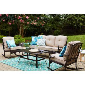 shop garden treasures arbington 4 piece steel frame patio rh pinterest com