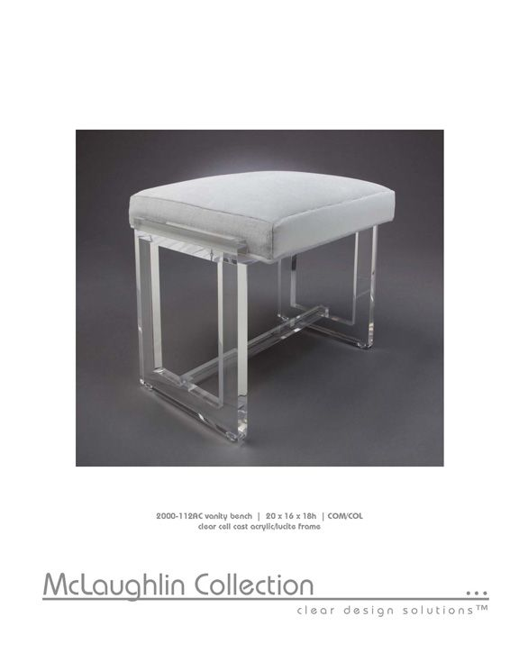 McLaughlin Collection Acrylic \ Lucite Furniture; 20 X 16 X 18H