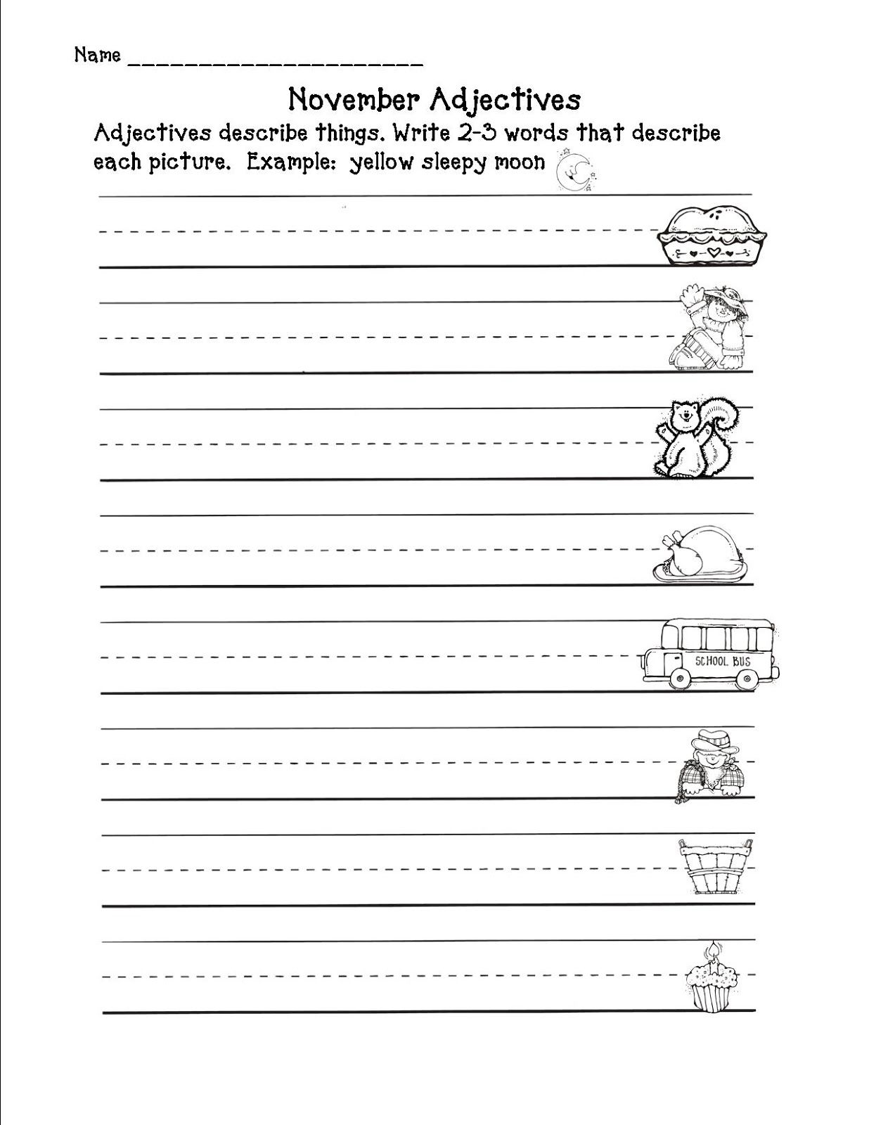 November Adjectives Worksheet Second Grade Freebies