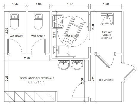 Bagni pubblici dwg servizi igienici per il pubblico 2 bagno sala da bagno nel 2019 - Dimensioni minime bagno disabili ...