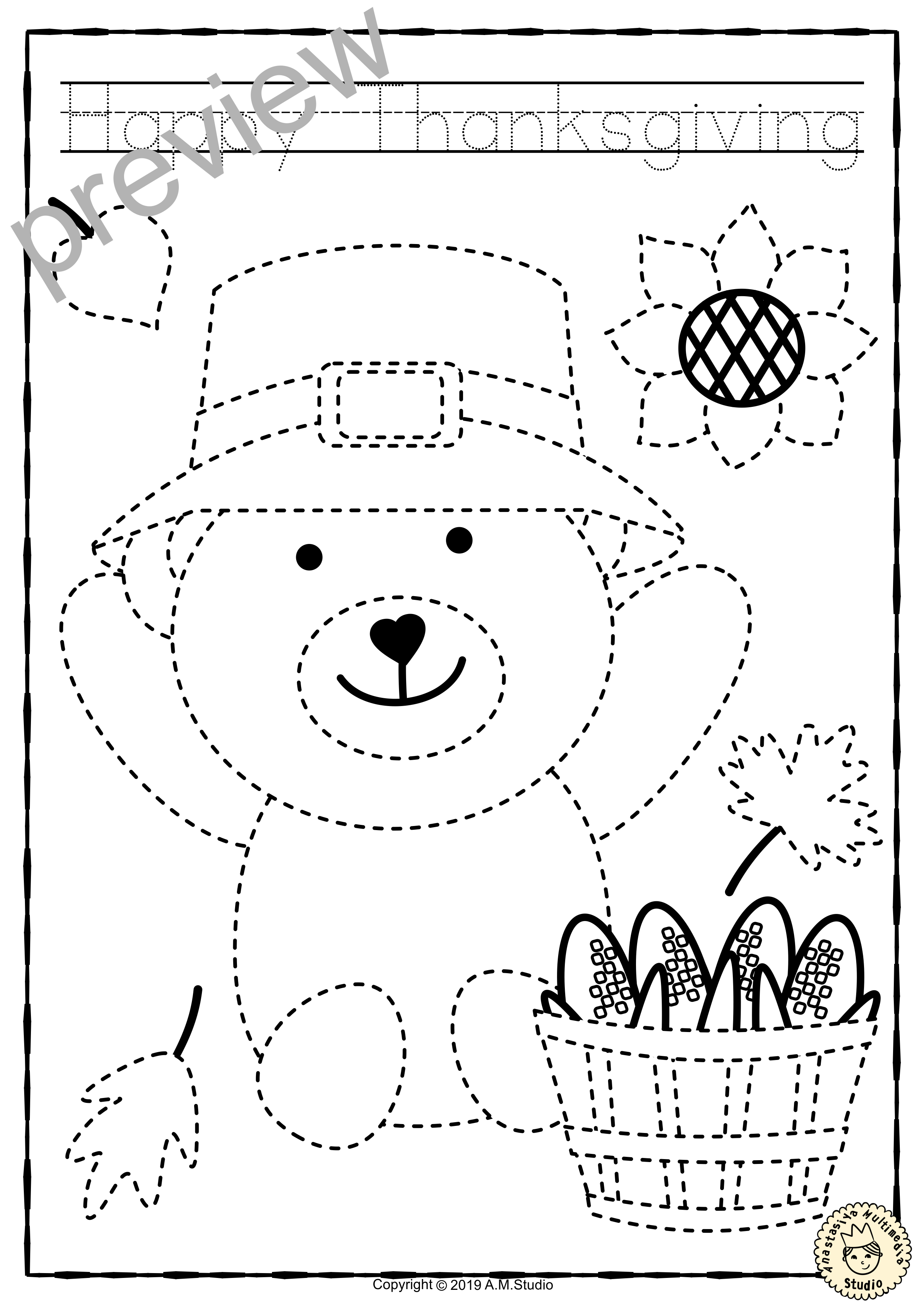Thanksgiving Trace And Color Pages Fine Motor Skills