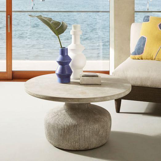 Tambor Concrete Coffee Table, Raw Concrete