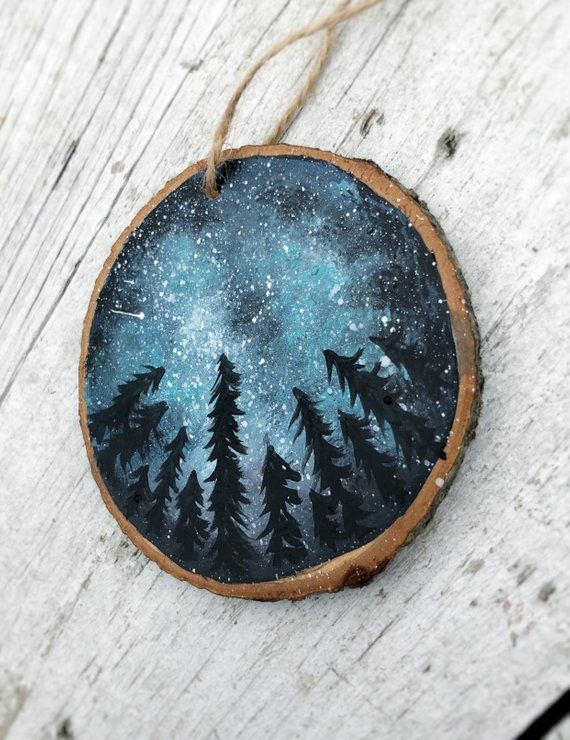 Starry Night Christmas Ornament Wood Slice Milky Way Hand Painted Rustic Tree Ornament Hanging made