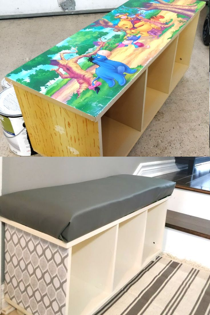 DIY Cubby Storage Made from Old Toy Shelf | Feeling Nifty