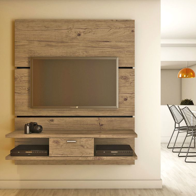 Simple Natural Polished Teak Wood Wall Board For Tv Stand Having Two Tier Shelves And Single Drawer