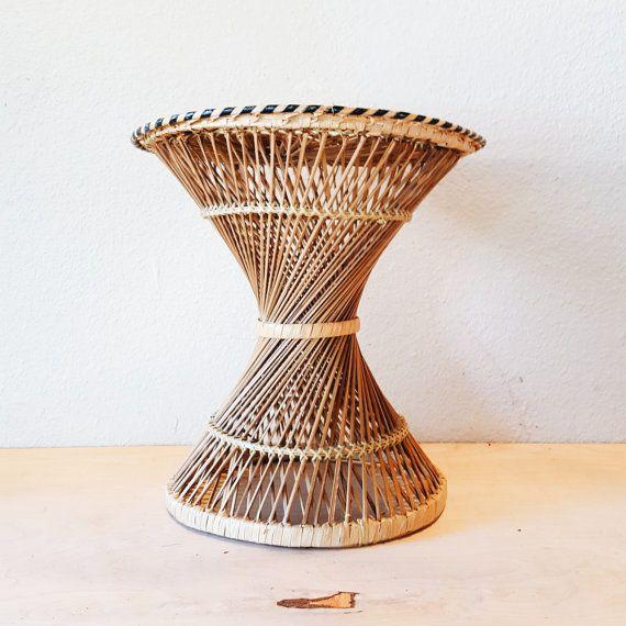 Vintage Rattan Wicker Plant Stand, 1960u0027s Woven Round Hourglass Side Table,  Striped, Multicolor Boho Decor, Natural Fiber, Helix Shape, Buri