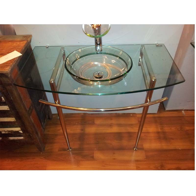 Transparent Tempered Glass Washbasin With Stainless Steel Support With Images Glass Basin Glass Sink Glass Bathroom
