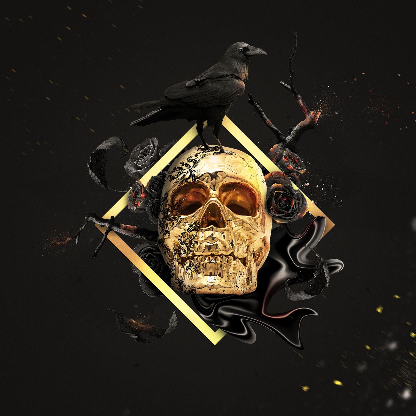 golden skull on behance black skulls wallpaper black
