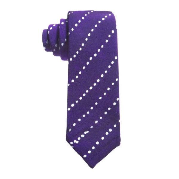 Adire Dotted Line Pattern Silk Tie (Purple)