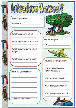 Free Introducing Yourself Worksheet For Kindergarten With 16 Free