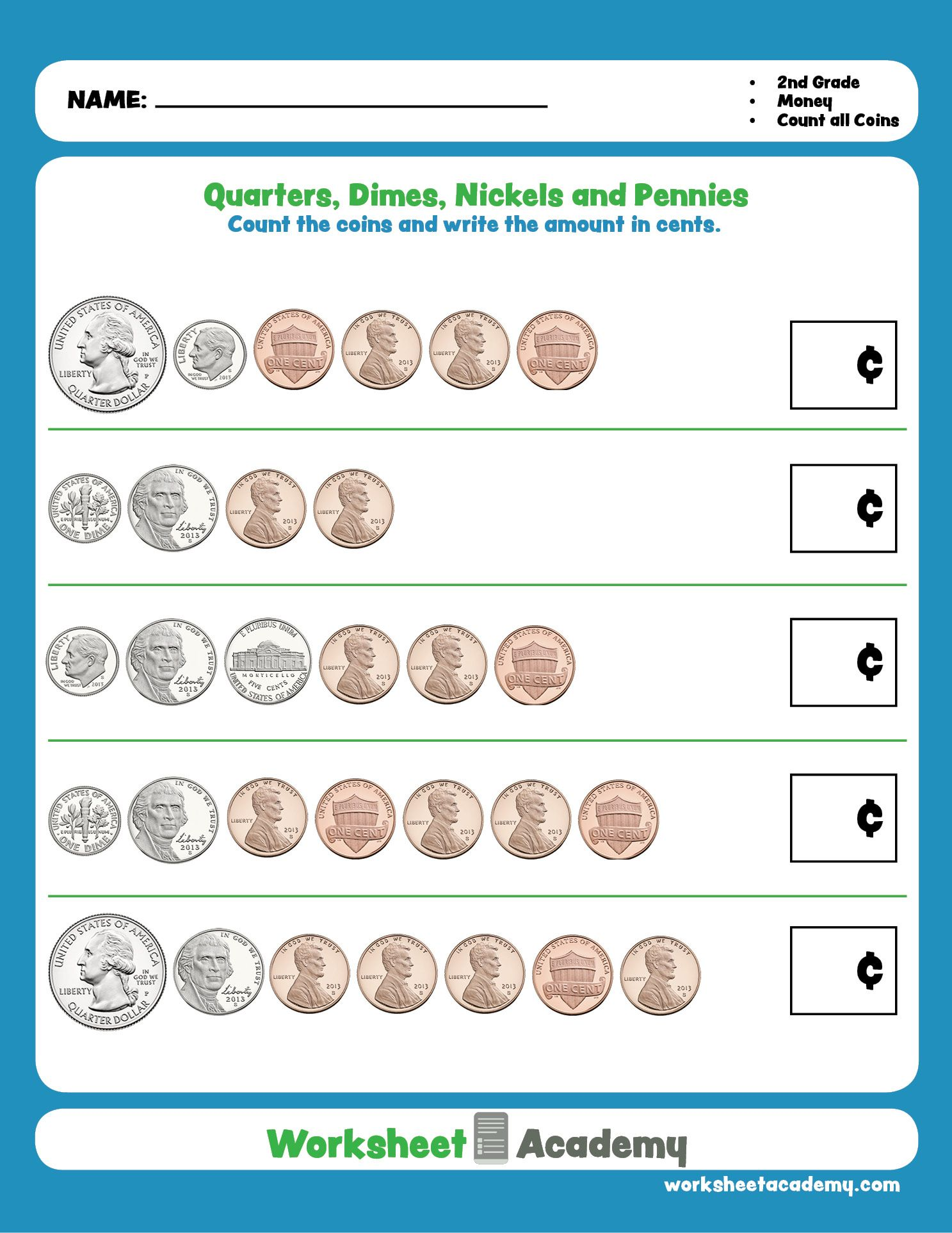 Practice Your Counting Of Quarters Dimes Nickels And