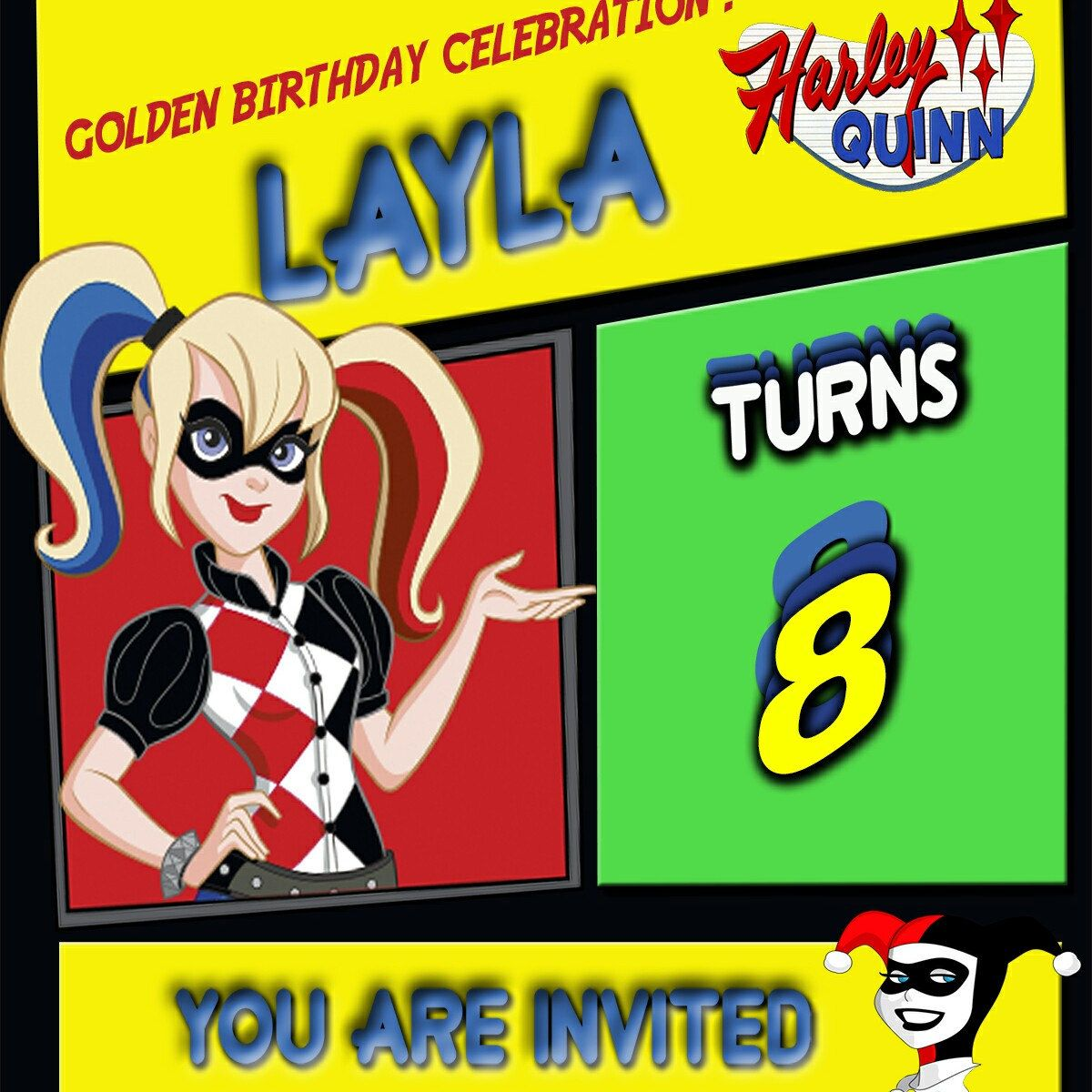 Working on Layla Harley Quinn Birthday Invitation