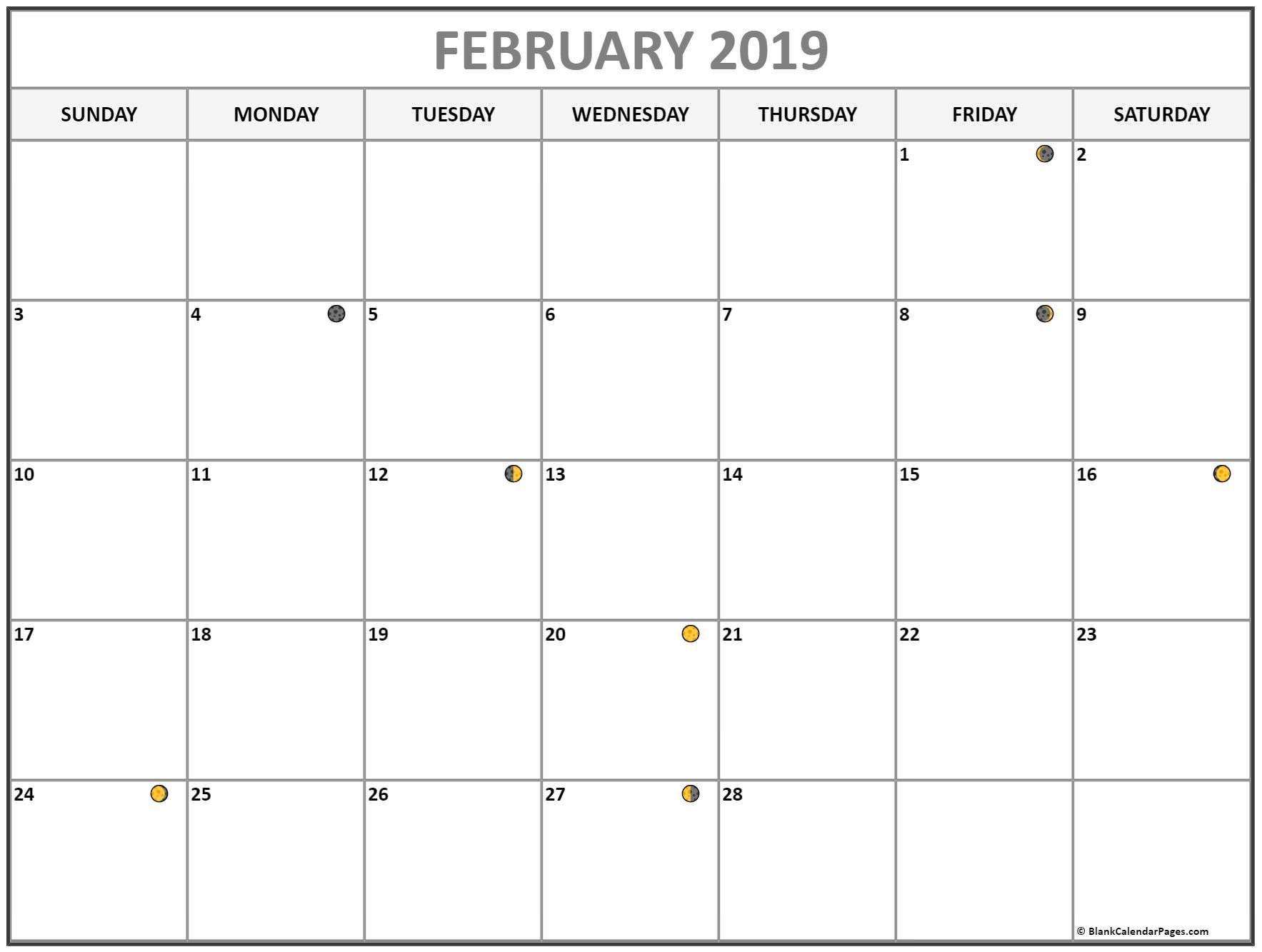 February Lunar Calendar Moon Phase Calendar With Usa