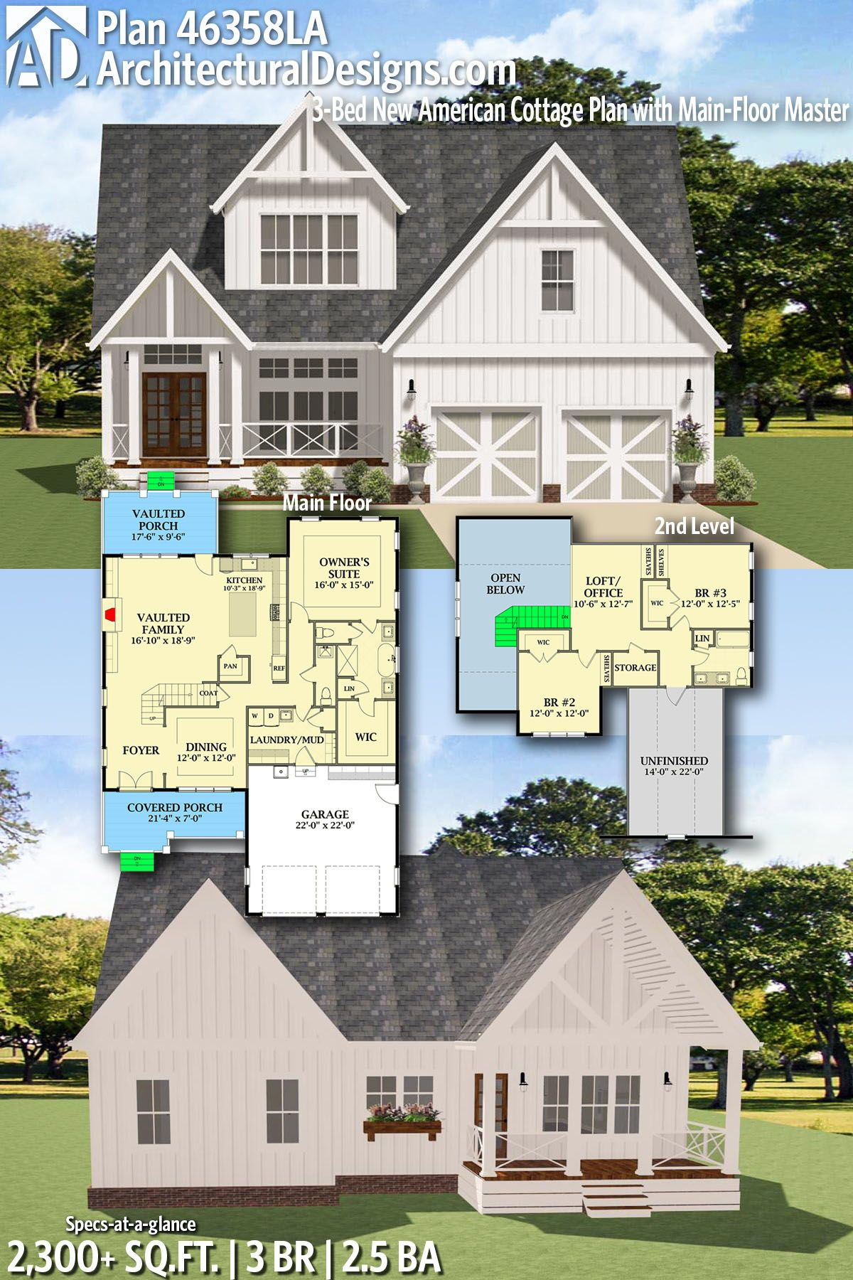 Plan 46358la 3 Bed New American Cottage Plan With Main Floor Master Cottage Plan New House Plans House Plans