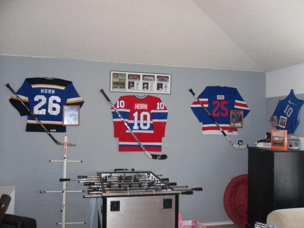 Gameroom The Guys Hockey Room Boys Hockey Room Hockey Bedroom