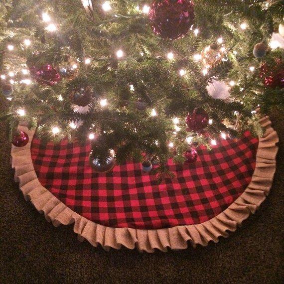 Buffalo Plaid Burlap Ruffle Christmas Tree Skirt Etsy In 2020 Burlap Tree Skirt Christmas Tree Skirt Plaid Tree Skirt