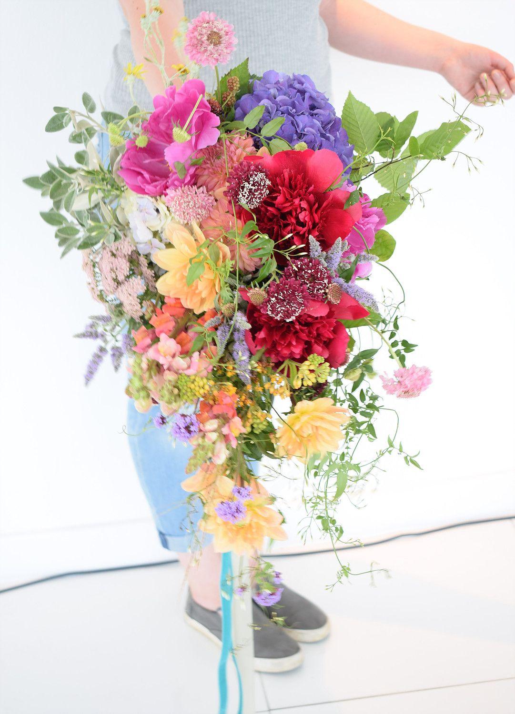 Summer Wedding Flowers In Wildflower Cascade Bouquet Wildflower