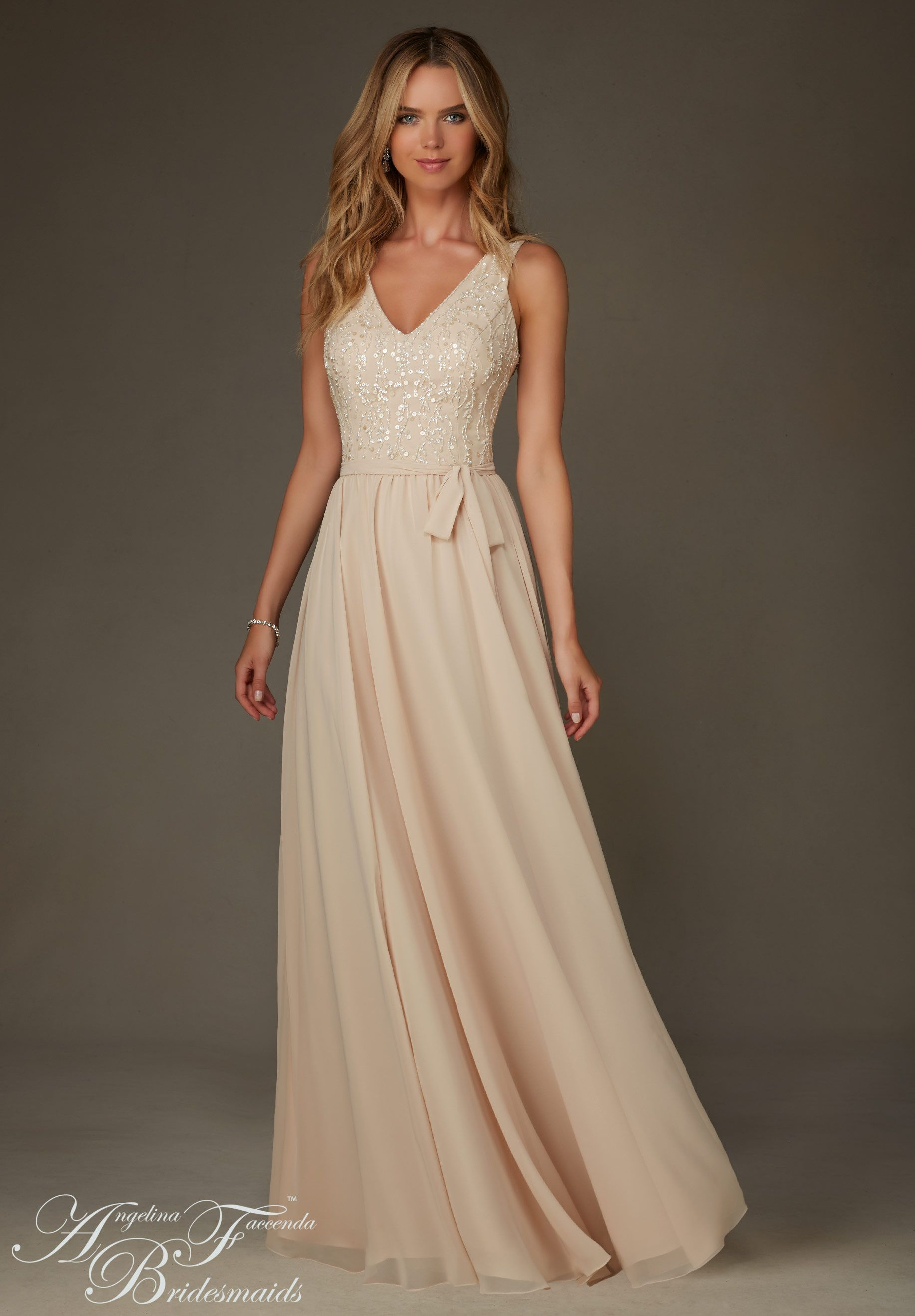 Bridesmaids dresses by angelina feccenda chiffon with for Champagne color wedding dresses