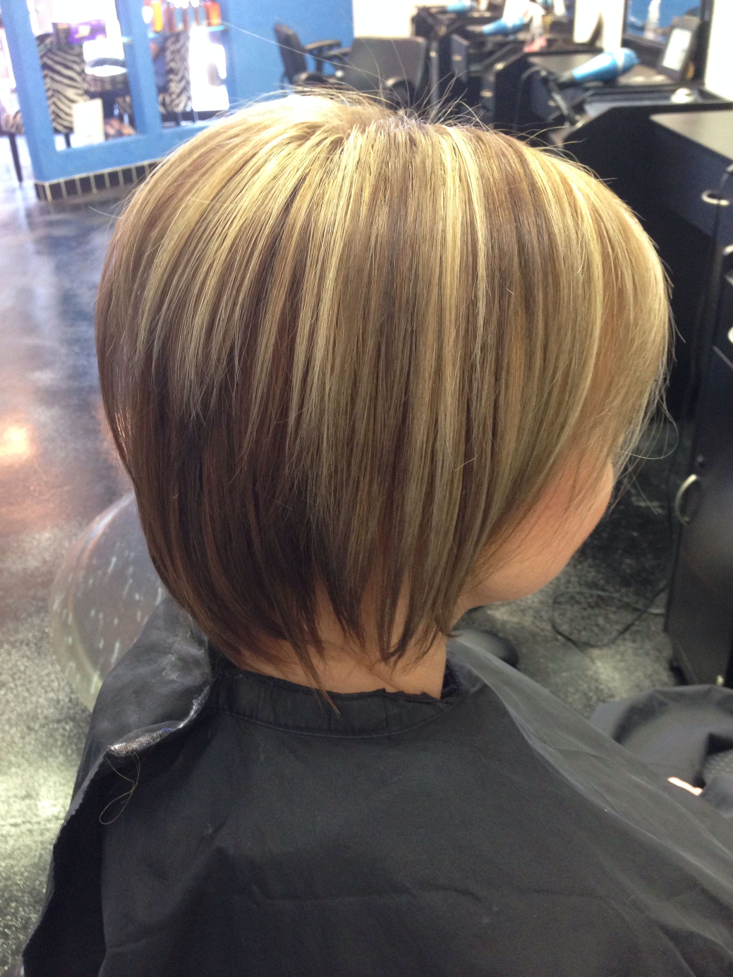 Short Layered Bob Haircut With Dark Caramel Blonde Low