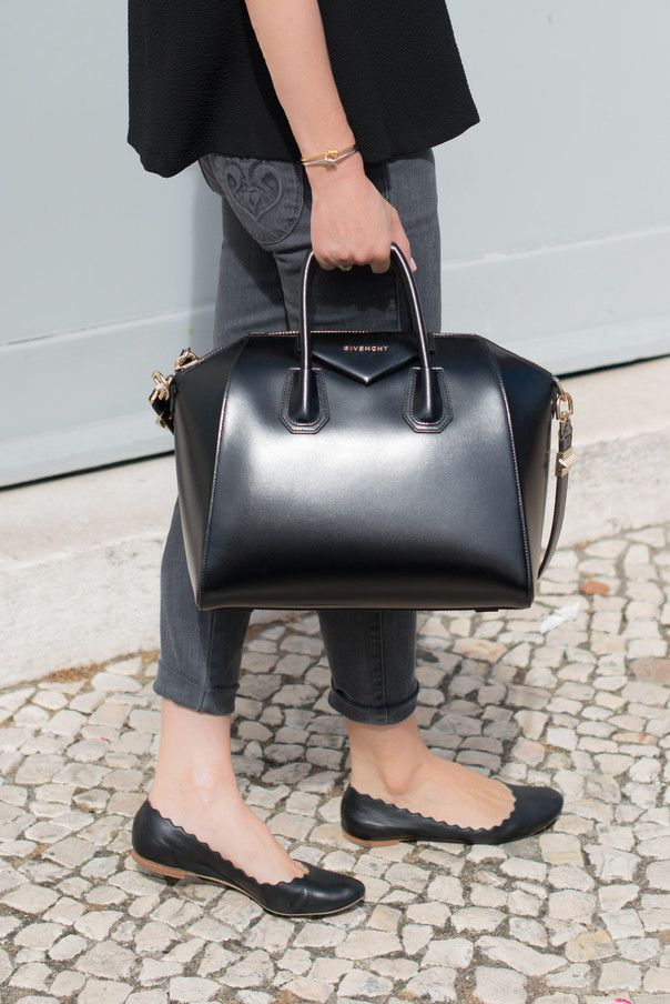 a0e62d0ff5d5 Black  Antigona  Bag by Givenchy + Black Chloe  Lauren  Scalloped Flats +  Grey  Hannah  Siwy Denim
