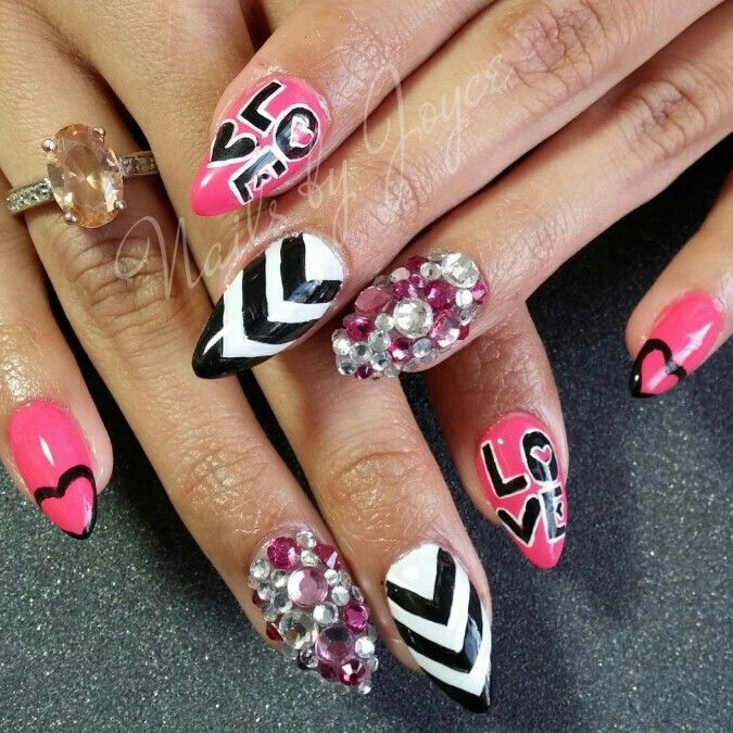 Blinged Out Nail Hand Painted Nail Arg Valentines Day Pinterest