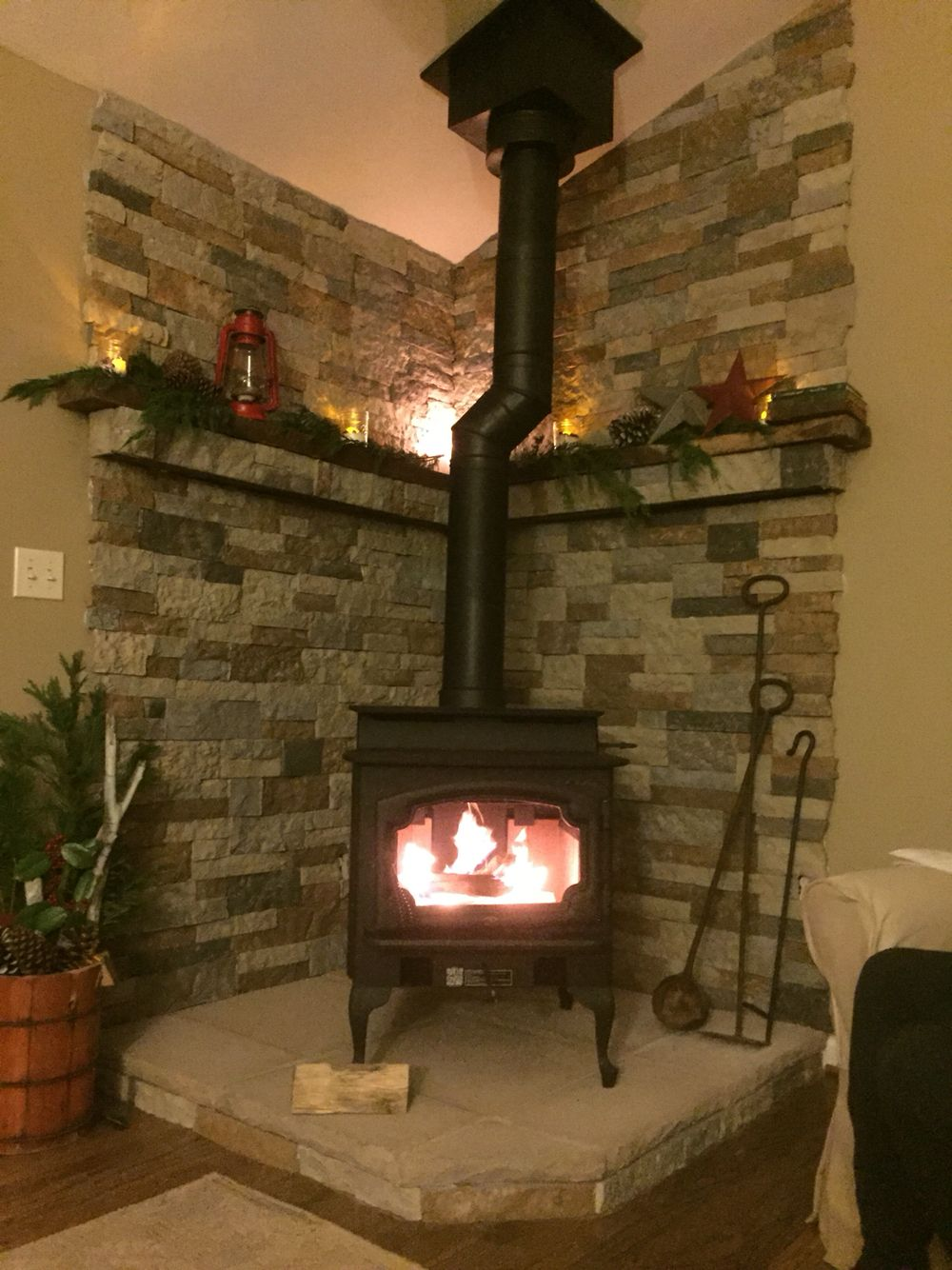 Project Completed My Lopi Endeavor Woodstove Hearth Mantel Stone By Me Stove By The Pros Wood Burning Stove