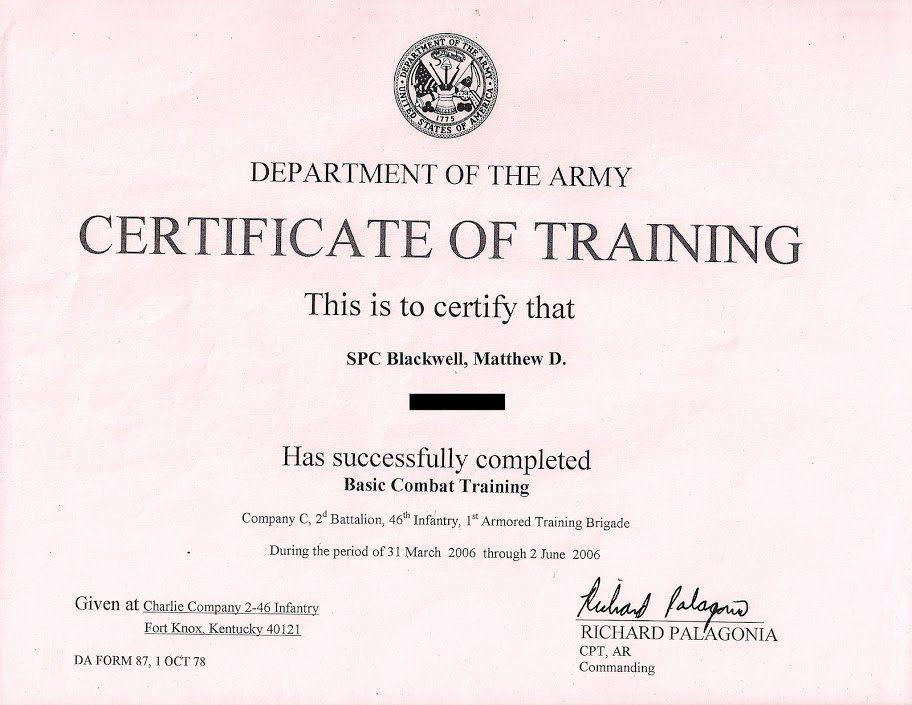 Combat Lifesaver Certificate Template Elegant Army