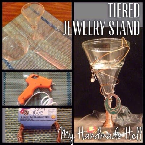 My Handmade Hell: DIY Tiered Jewelry Stand. It's so easy!!