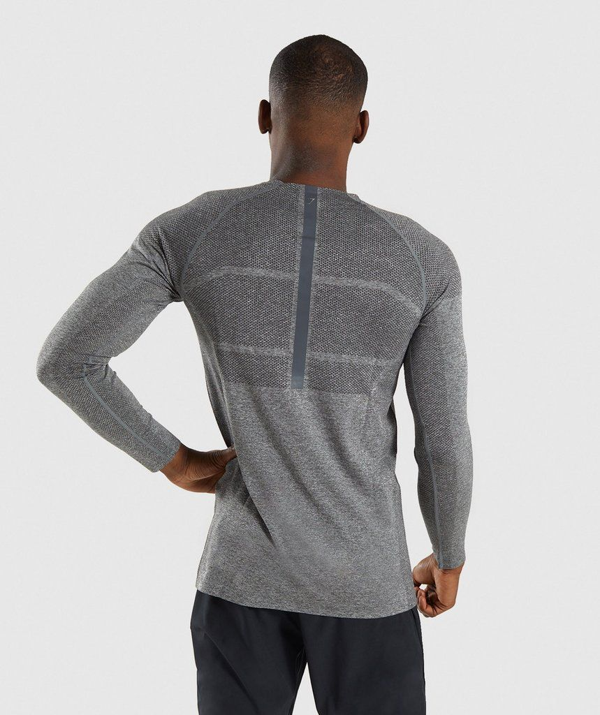 4cdeca7fbbe2 Gymshark Shadow X Seamless Long Sleeve T-Shirt - Charcoal Marl 2 ...