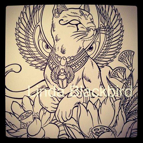 10 awesome egyptian cat wings images interesting for Egyptian tattoo flash