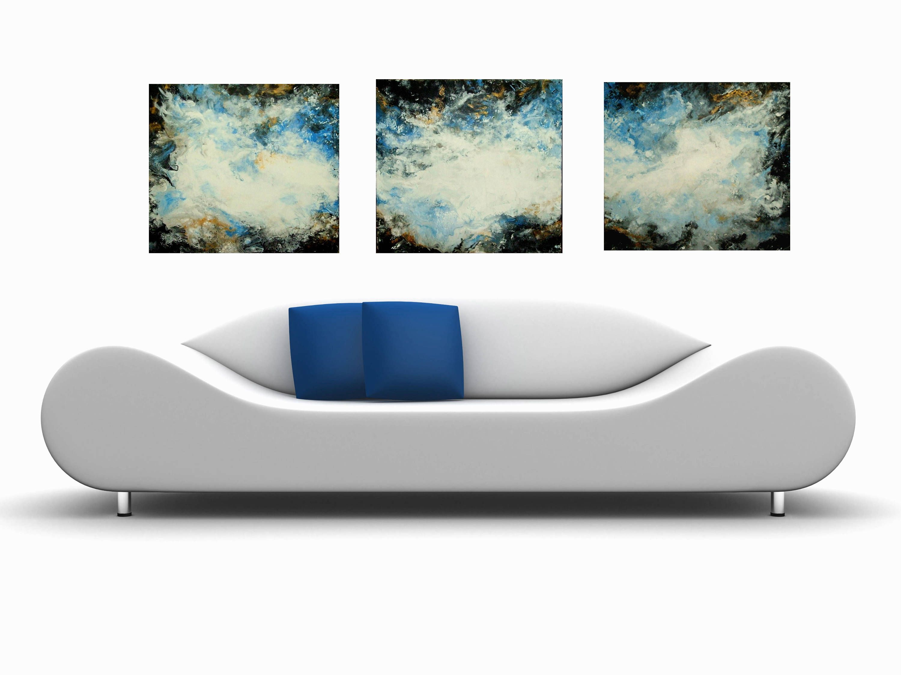 Large abstract art canvas wall gift art decor white blue black gold
