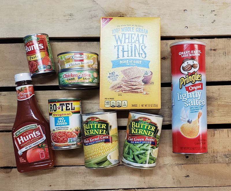 All low sodium or no salt added popular items that are